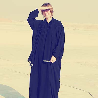 Me in abaya in the community park