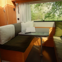sitting area in a caravan